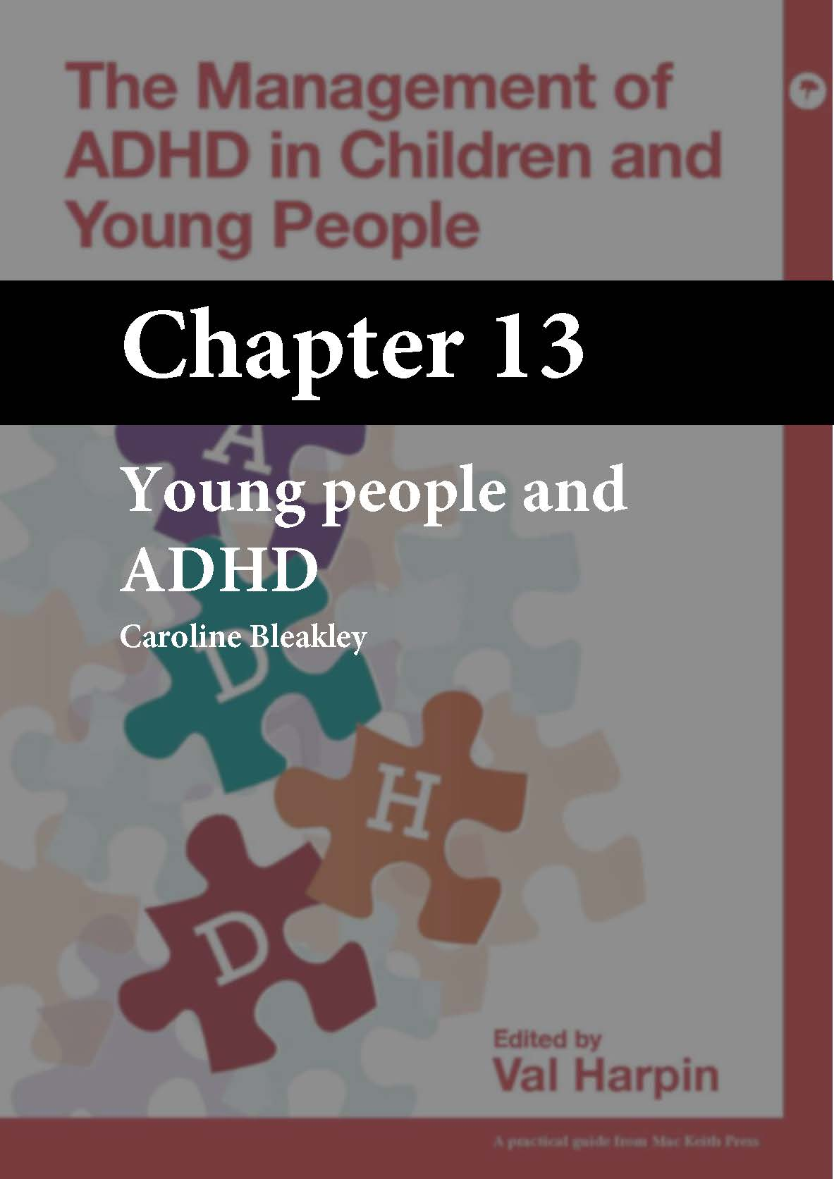The Management of ADHD in Children and Young People, Harpin, Chapter 13 cover
