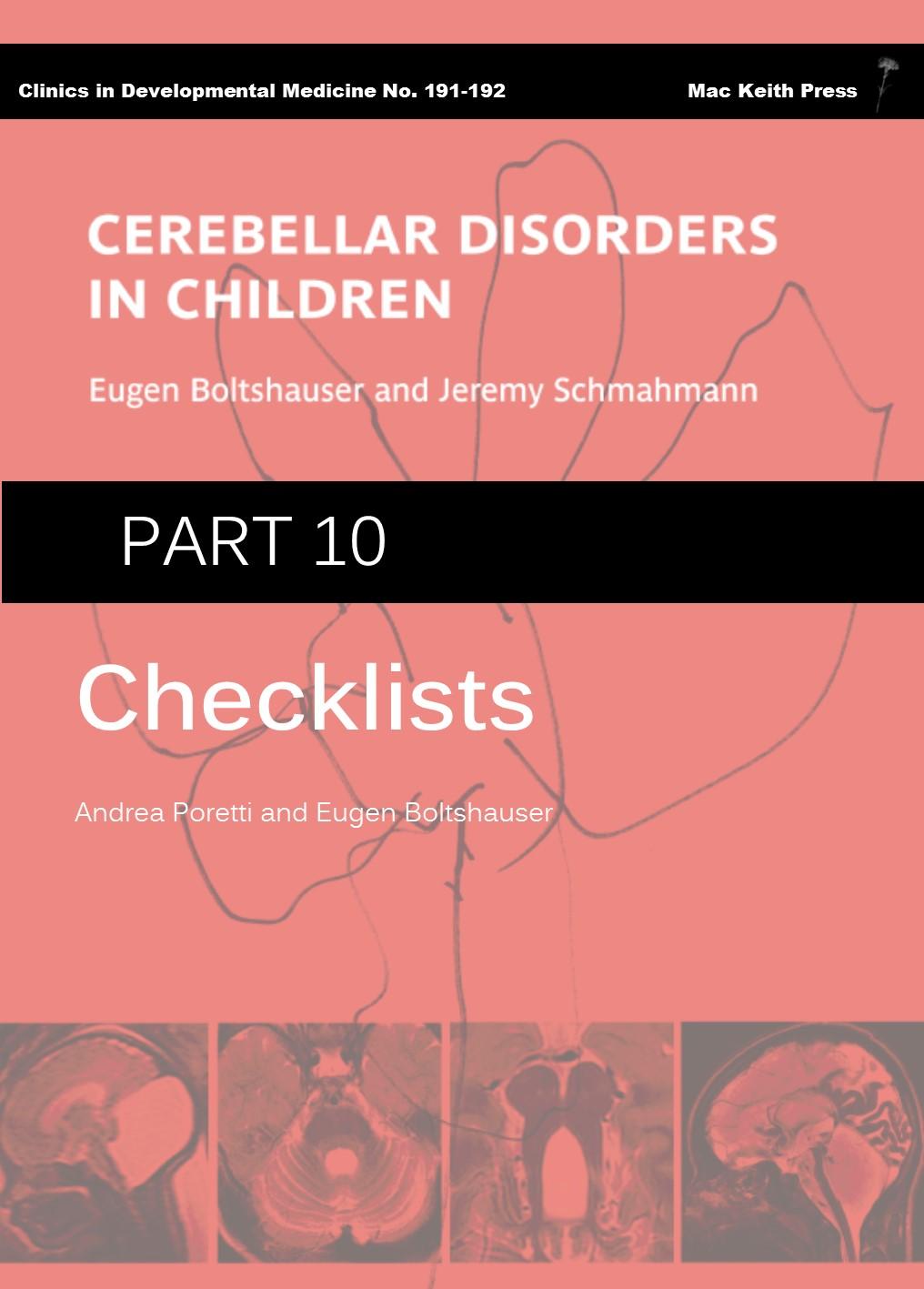 Cerebellar Disorders in Children - Part 10: Checklists COVER